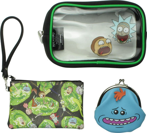 Rick and Morty 3 Piece Cosmetic Bag Set