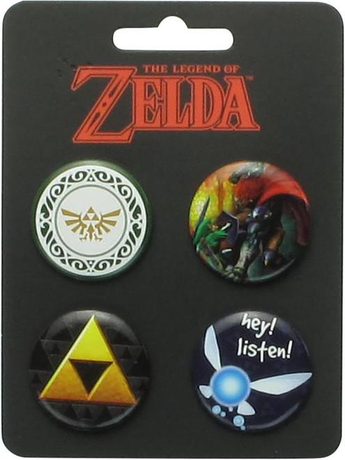 Zelda Triforce Listen 4 Piece Button Set