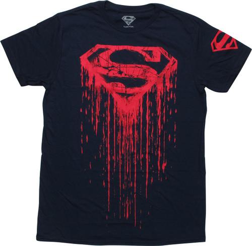 Superman Distress Logo Drip T-Shirt