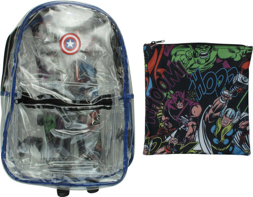 Avengers Captain America Pouch and Clear Backpack