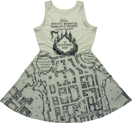 Harry Potter Marauders Map A Line Dress