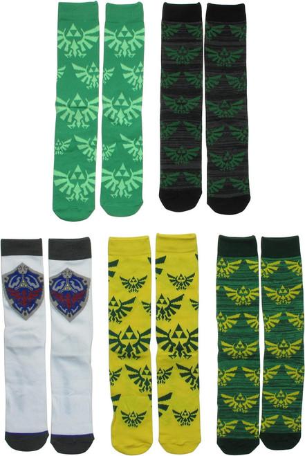 Zelda Hyrule Crest 5 Pack Crew Socks Set
