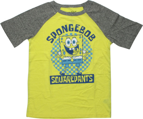 Spongebob Squarepants Checker Raglan Youth T-Shirt
