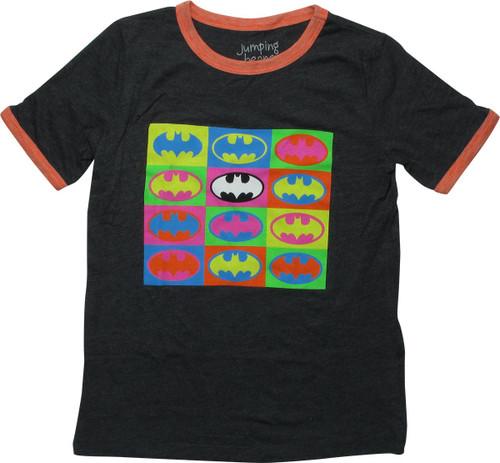 Batman Logo Pop Art Squares Youth T-Shirt