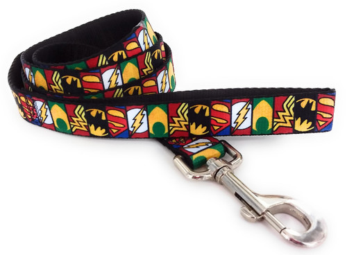 Justice League Logo Panels Wrap 4 Foot Pet Leash