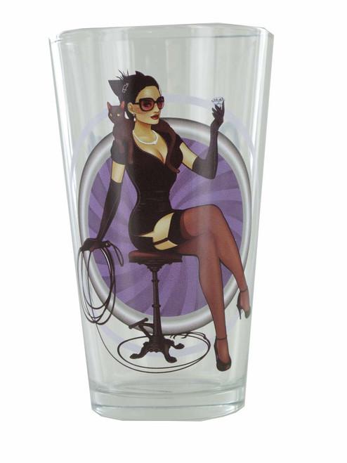 Batman Catwoman Bombshell Toon Tumbler Pint Glass