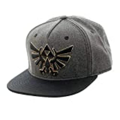 Zelda Tri Force Crest Embr Gry Snapback Hat