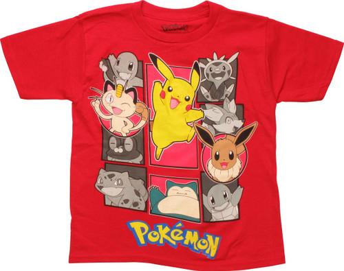 acea4707 Pokemon Pikachu Squares Red Juvenile T-Shirt