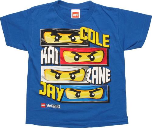 Lego Ninjago Ninjas Eyes And Names Youth T Shirt