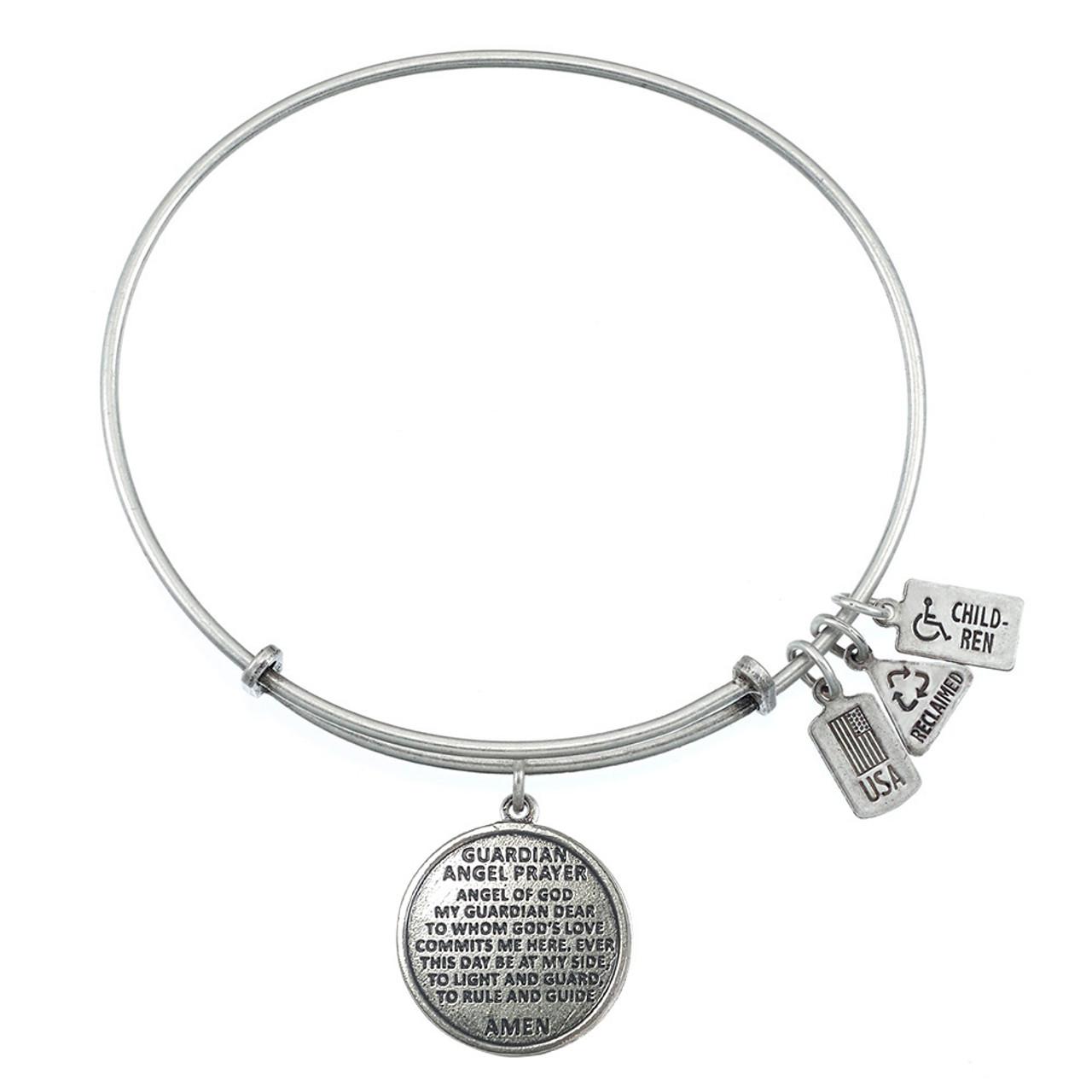 Black Glass Bead Bracelet ANGEL WING Charm Spiritual Protection Guidance