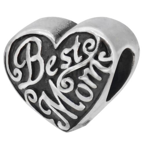 ZABLE Best Mom Heart Bead Charm BZ-2052, fits Pandora.