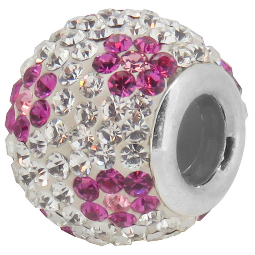 ZABLE Pink & White flowered Crystal Studded Bead Charm BZ-1145