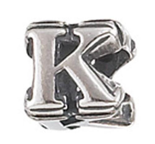 """ZABLE """"K"""" Letter Bead Charm BZ-1811"""