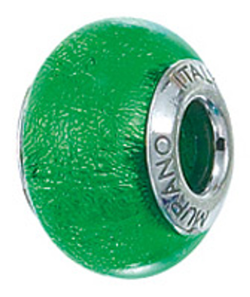 bz-4005 may brithstone murano glass bead in emerald green, sterling silver. Fits Pandora, chamilia, ohm, biagi, troll, Biagi, Zable and any other standard European Bead Charm bracelets.