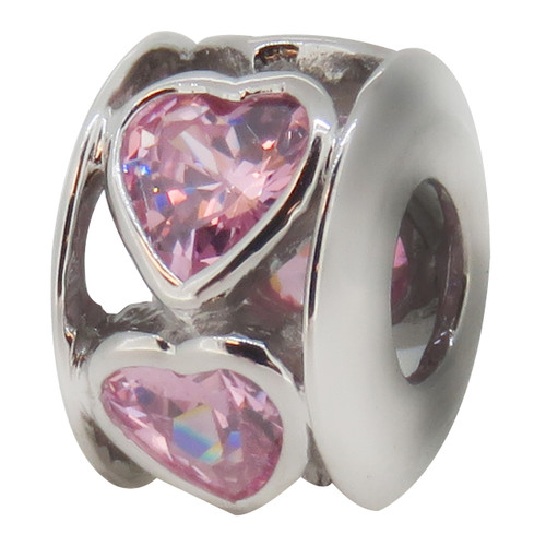 Zable hearts with Pink Cubic Zirconia bead charm, fits Pandora