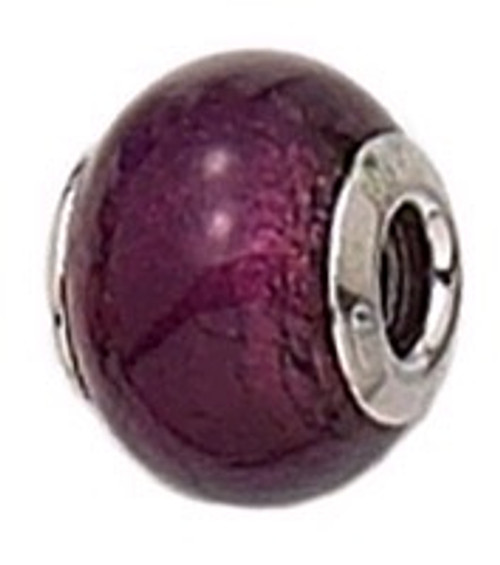 ZABLE Murano Glass Bead Charm February Purple BZ-1502, fits Pandora.