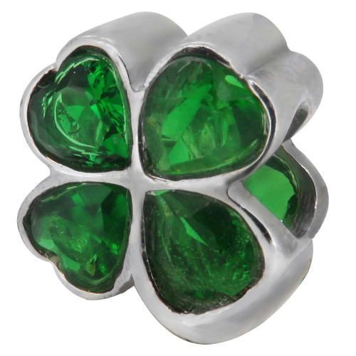 Zable bead charm Cubic Zirconia Emerald Green 4 Leaf Clover, fits Pandora, compatible with Pandora