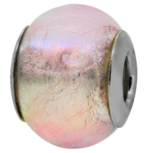 ZABLE Murano Glass Bead Charm October Birthstone Pink BZ-1510, Breast Cancer Awareness, fits Pandora, compatible with Pandora.