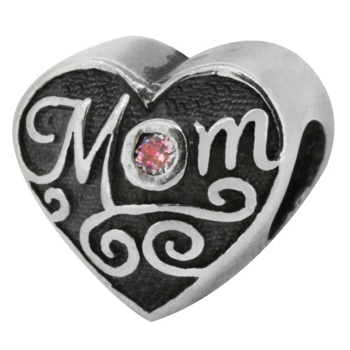 Zable bead charm Mom Heart with Pink CZ, fits Pandora, compatible with Pandora