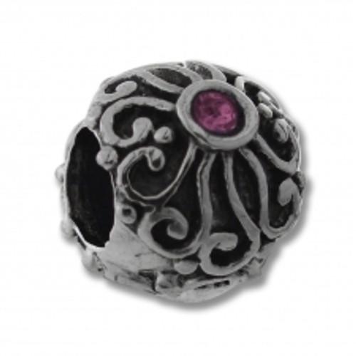 BIAGI Swirl Round Pink CZ Bead Charm BSCZ91P
