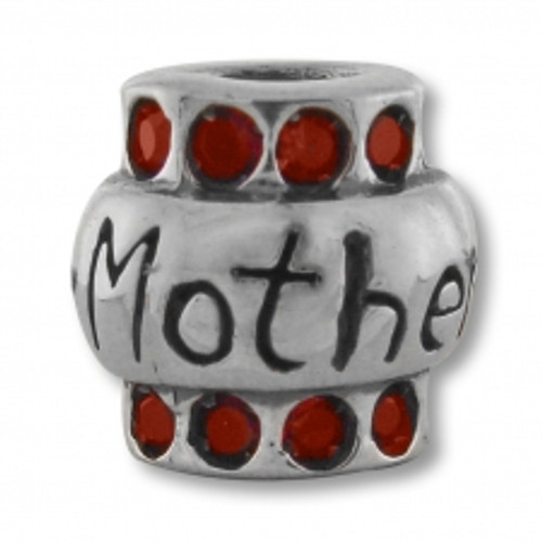 BIAGI Mother with Red CZ Bead Charm BBSCZ102R