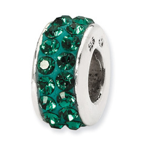 REFLECTIONS 2-row Green Crystal Bead Charm QRS1265MAY