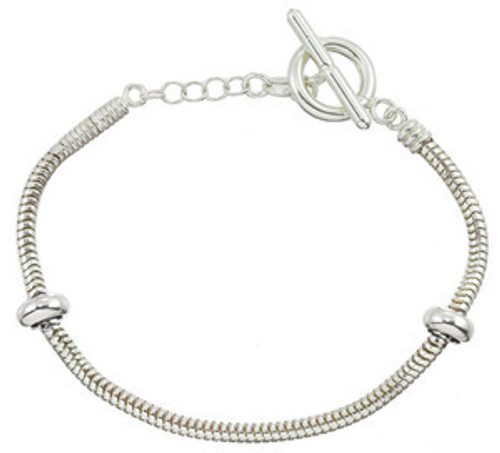 ZABLE Sterling Silver Toggle Starter Bracelet with 2 Stoppers