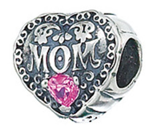 Zable heart with MOM bead charm with pink cubic zirconia, fits pandora