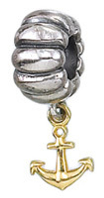 ZABLE Solid 14k Gold and Silver Anchor Dangle Bead Charm BZ-471 (Retired)