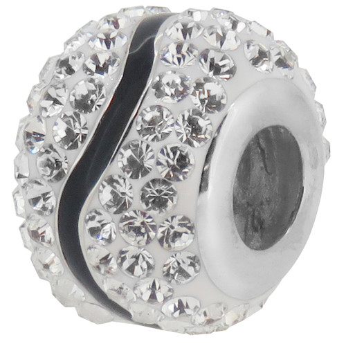 ZABLE Black & White Wave Crystal Studded Bead Charm BZ-1160