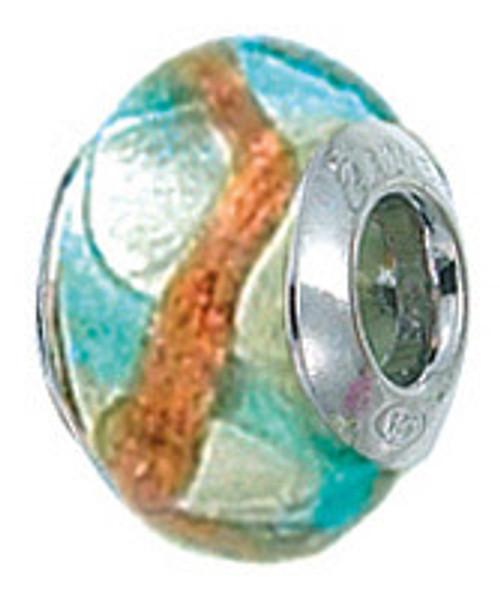 ZABLE Smaller Murano Glass Bead Charm Blue/Copper Swirl BZ-4039