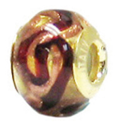 ZABLE Red, Gold, Copper Murano Glass Bead Charm BZ-3540 (retired)