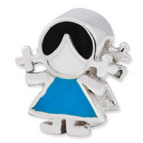 REFLECTIONS Little Girl in Blue Bead Charm QRS2407