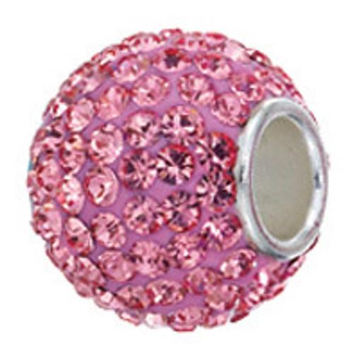 Zable Swarovski crystal studded pink bead charm, fits pandora