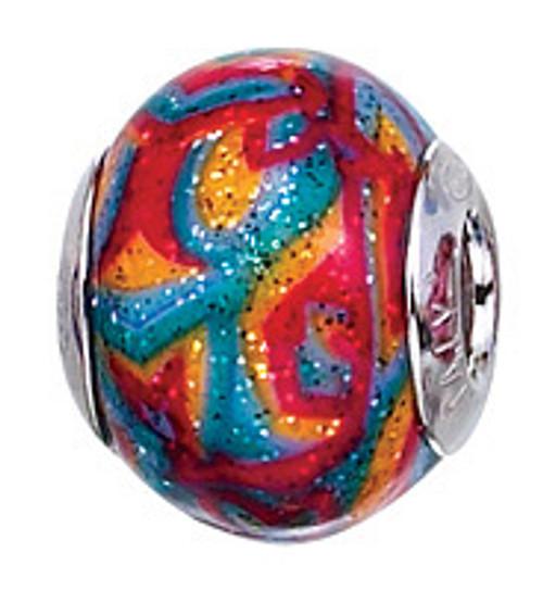 ZABLE Multi-Color Glitter Murano Glass Bead Charm BZ-2820