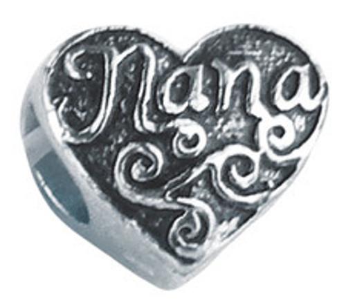 ZABLE Nana Heart Bead Charm BZ-2227, fits Pandora.