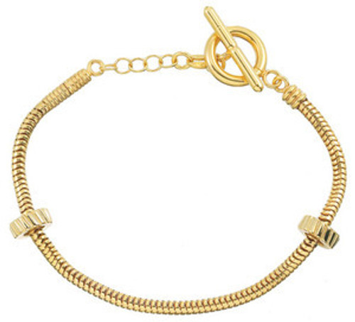 ZABLE 14k Gold over Sterling Toggle Starter Bracelet with 2 Stoppers