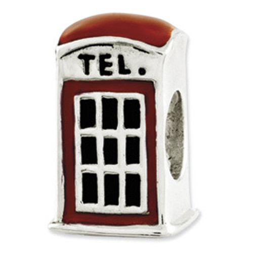 REFLECTIONS Red Enamel Telephone Booth Bead Charm QRS2653