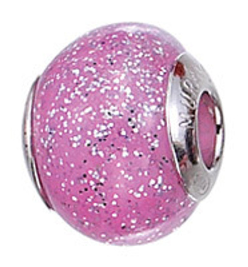 Zable Murano Glass Bead Charm with Pink and silver sparkles, fits pandora