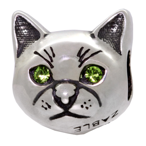 ZABLE Kitty Cat with Green Crystal Eyes Bead Charm BZ-2214, fits Pandora.