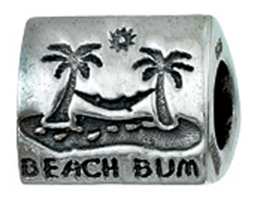 "zable bead charm with beach images ""beach bum"", fits pandora"