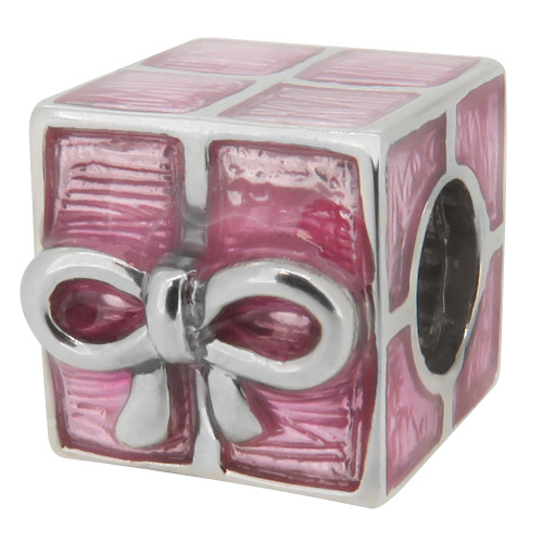 Zable bead charm Pink Present with bow, fits Pandora, compatible with Pandora