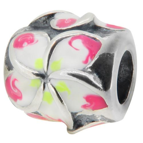 ZABLE Pink Plumeria Bead Charm BZ-2012