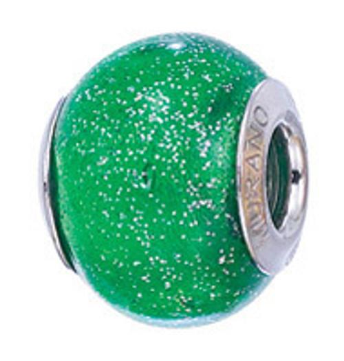 ZABLE Glittery Green Murano Glass Bead Charm BZ-2832