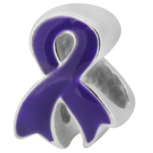 ZABLE Purple Ribbon Bead Charm BZ-2223, fits pandora, compatible with pandora.