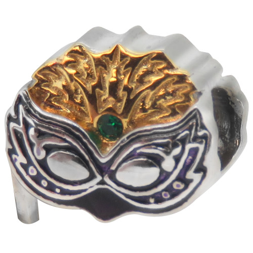 ZABLE Mardi Gras Mask Bead Charm BZ-2246, fits Pandora.