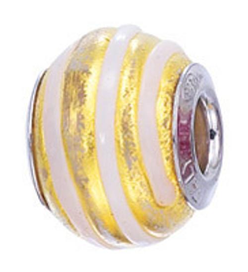 ZABLE Gold/White swirl Murano Glass Bead Charm BZ-2833