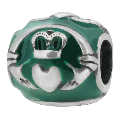 Zable bead charm green enameled Claddagh, fits Pandora, compatible with Pandora