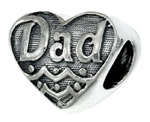 ZABLE Dad Heart Bead Charm BZ-2249