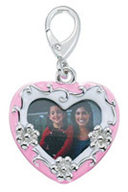 Zable clip on charm Photo insert with pink heart, fits pandora